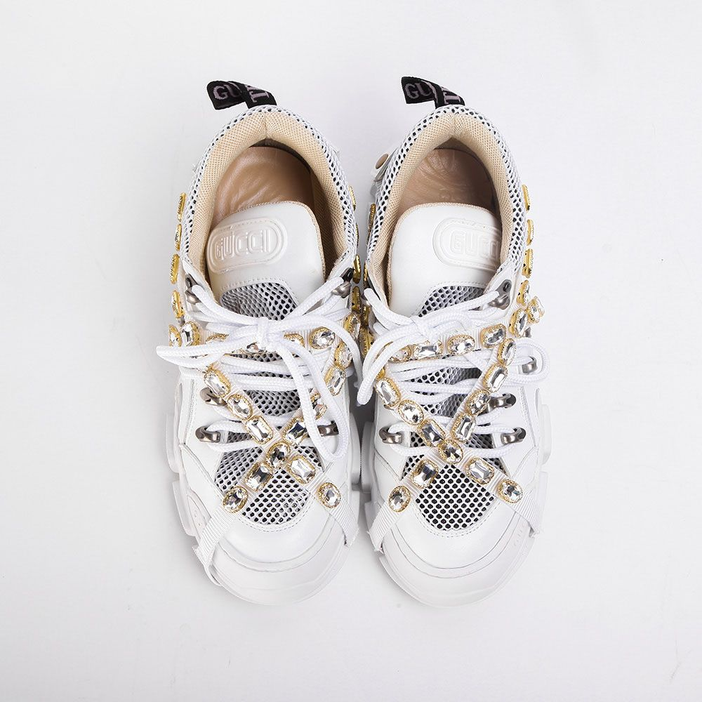 Removable Crystals(White Leather),Sneakers