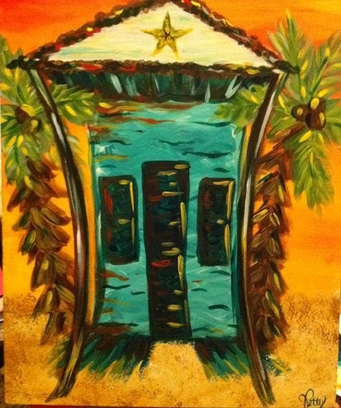 Funky Beach Shack Painting in Turquoise and by joiepetitedesigns, $85.00
