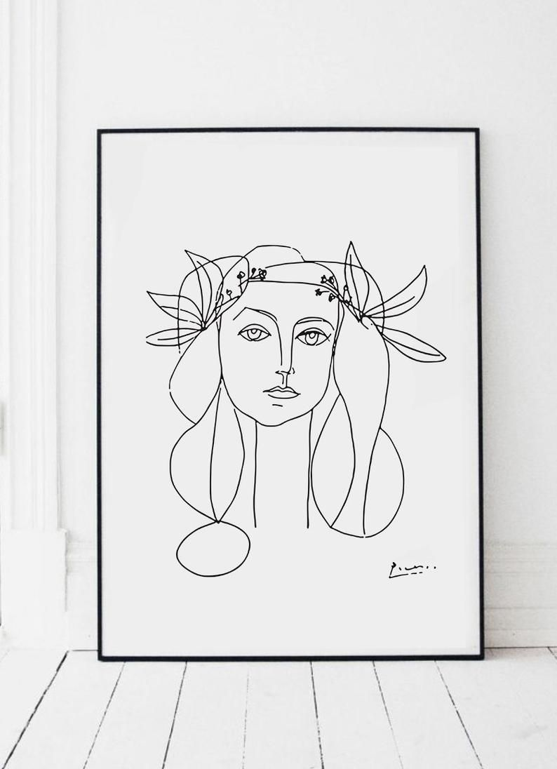 Picasso sketch illustration of a girl art print poster in