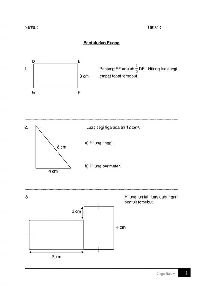 Latih Tubi Matematik Untuk Murid Tahun Enam Ada 10 Soalan Untuk Dijawab Tip Belajar Gps Bestari Chart Diagram Facial