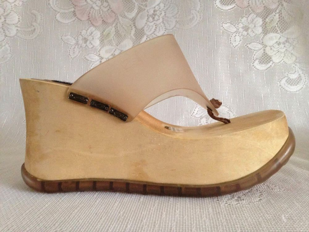 eda5ee0c8e1 Very cool and hard to find pair of Candies Wood Platform Wedge Thong Sandals  with a plastic Strap. Circa 90 s