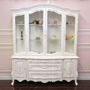 Elegant Shabby Cottage Chic White French Style China Cabinet Hutch Roses Vintage  Style | EBay
