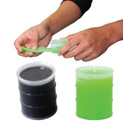 Stretchy, tactile putty is a great way to get your mind off what's stressing you out. Oil barrel container is available with black or neon green putty. The black is great for the oil industry; the green looks like toxic sludge!