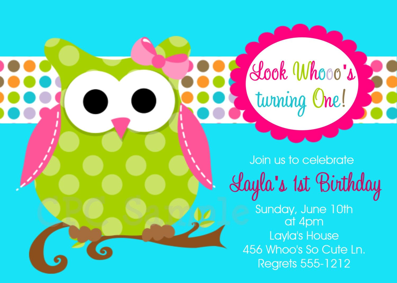 Owl Birthday Invitations Printable or Printed Invite Green