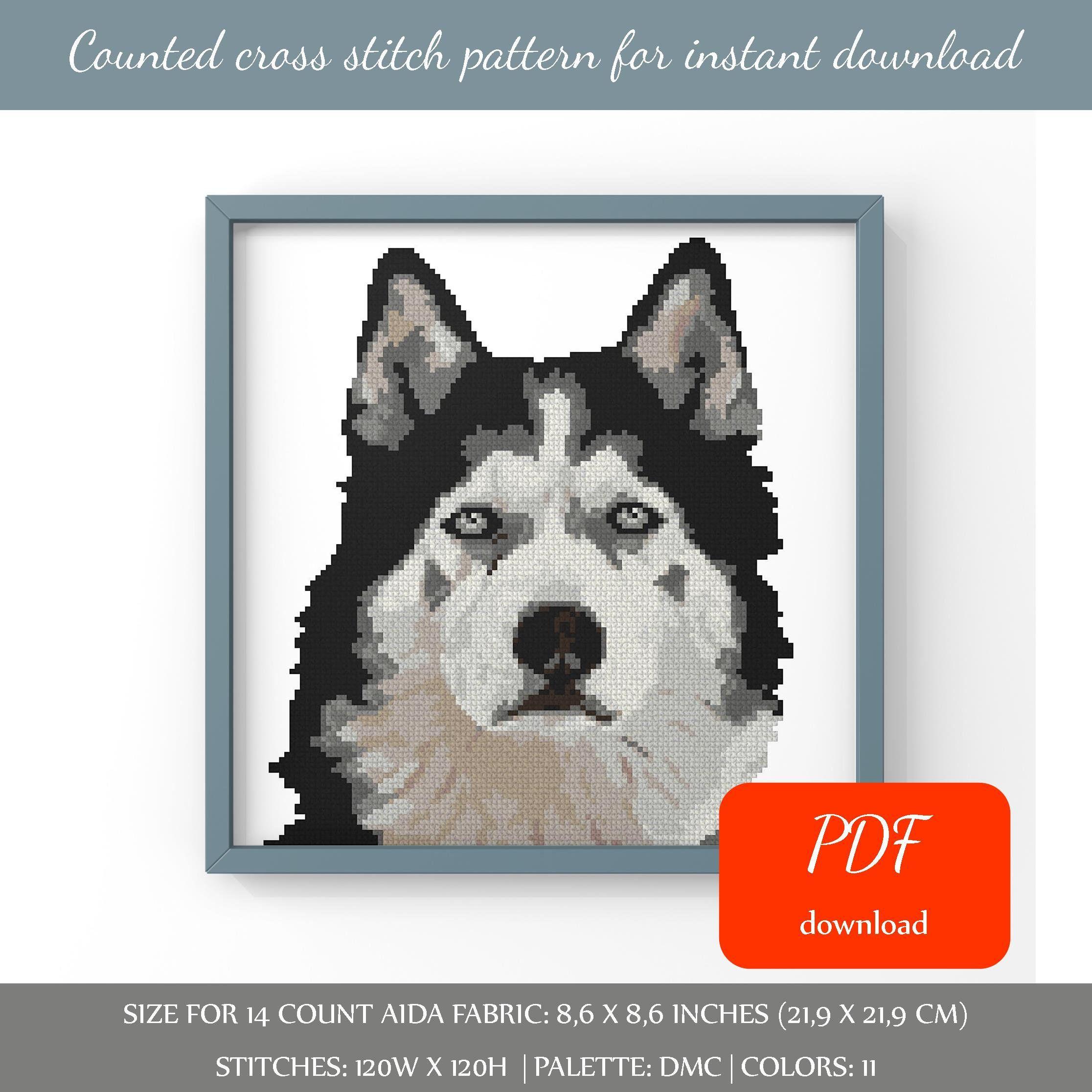 Siberian Husky cross stitch pattern Digital format PDF