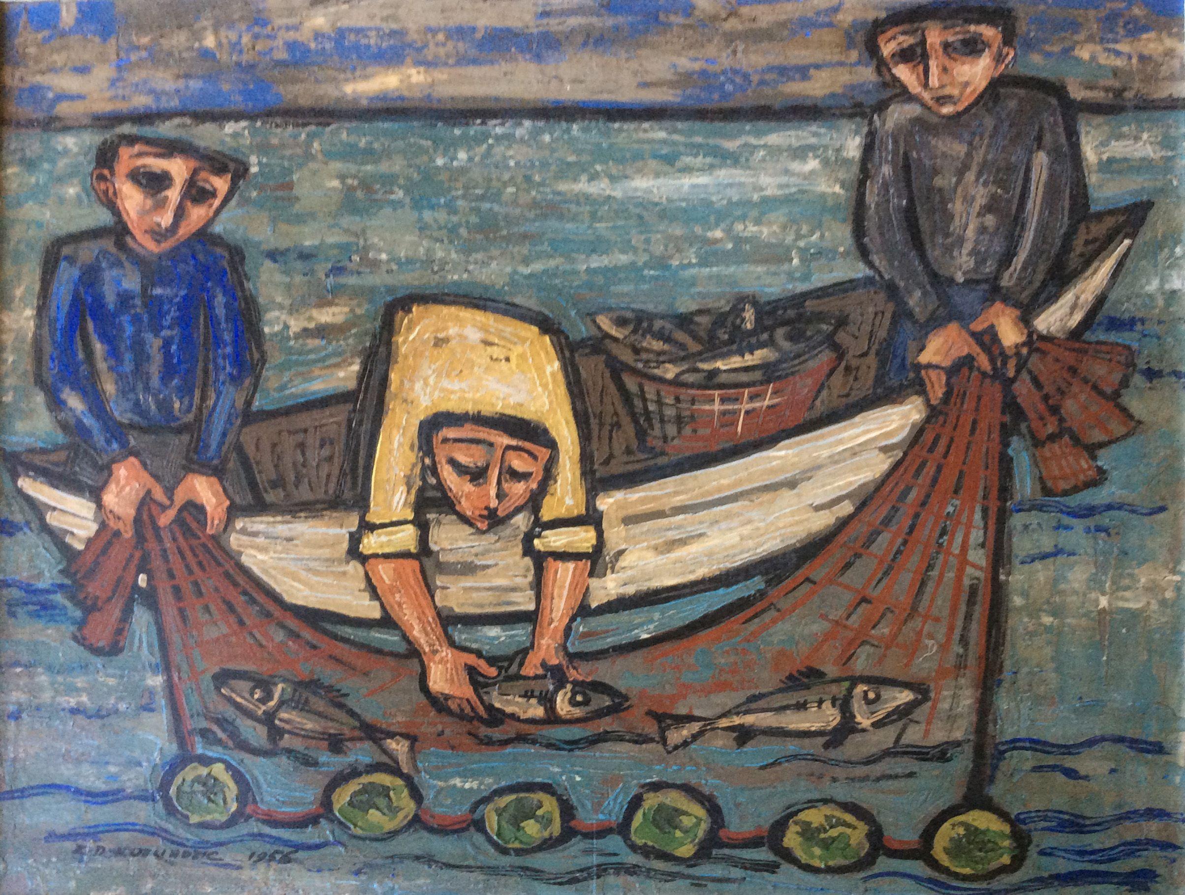 Fishermen 1956 Art Painting Classical Music