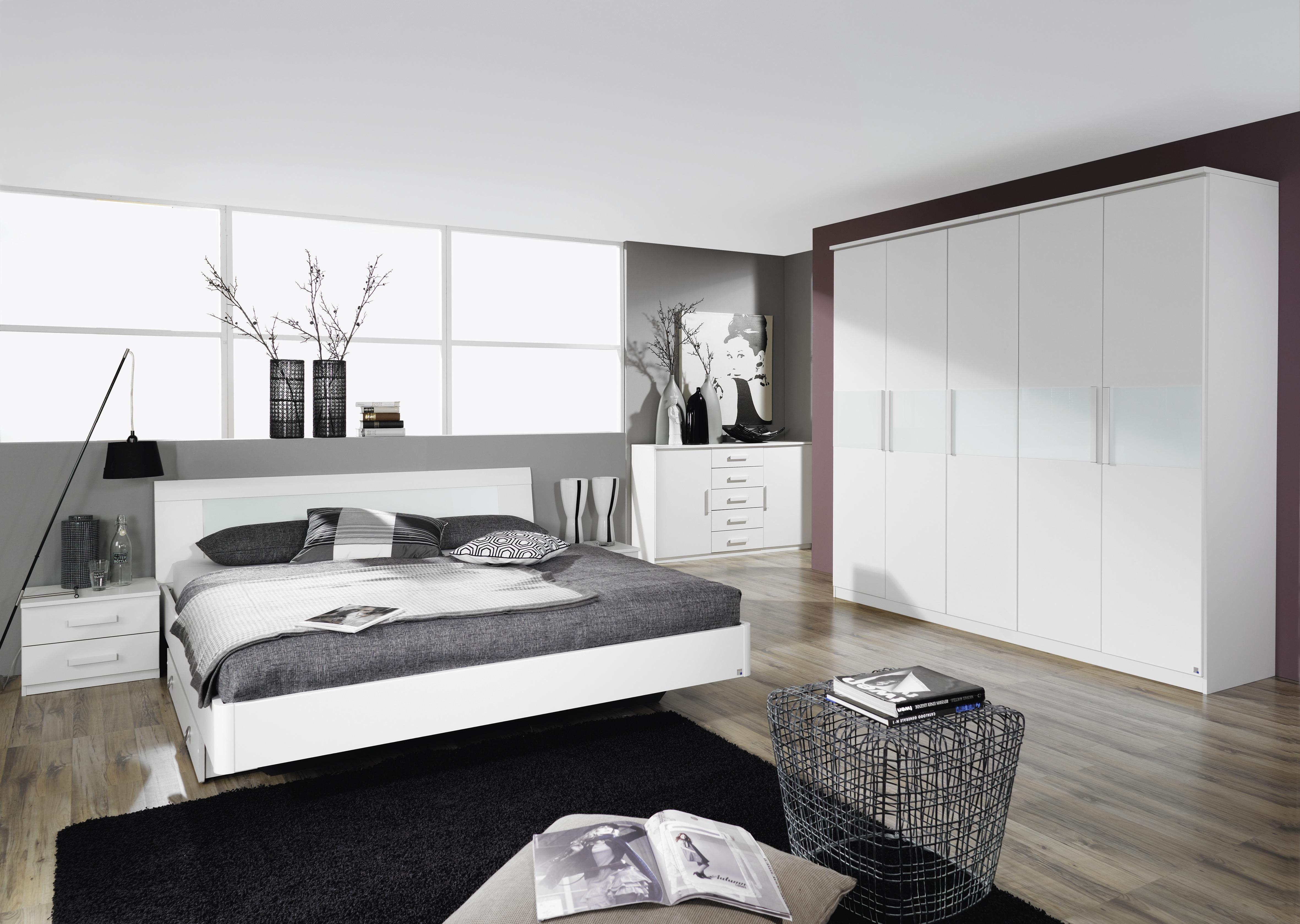 Schlafzimmer Mit Bett 180 X 200 Cm Alpinweiss / Glas Weiss Woody 33 00674  Holz