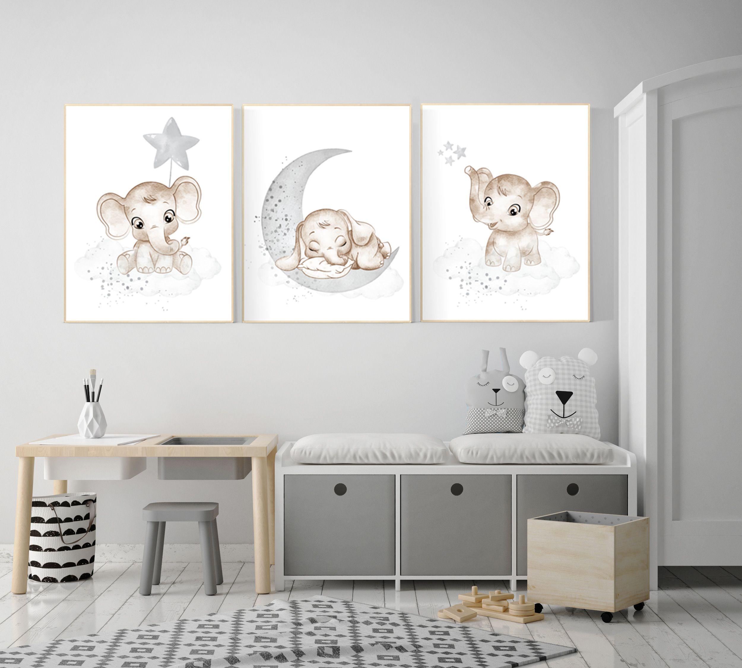 Photo of Grey nursery wall decor, gender neutral, elephant nursery wall decor, neutral, baby gray nursery