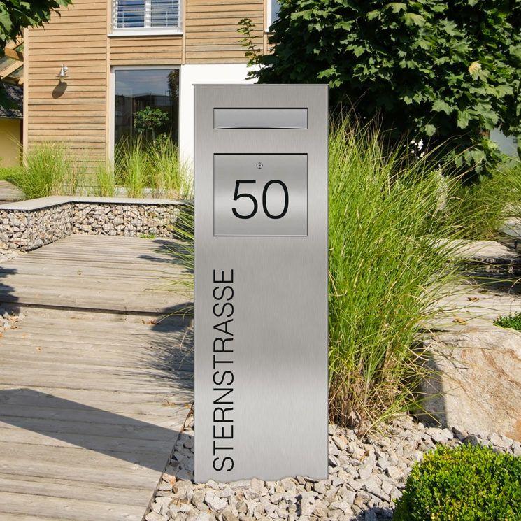 Design Led Klingelstele Klingelsaule Pylon Mit Individuellem Schriftzug In 2020 Standbriefkasten Briefkasten Mit Stander Modernes Postfach