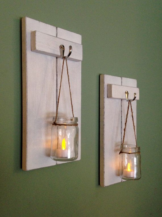 Rustic Wall Sconce Wooden Candle Holder Mason Jar by CoveDecor & Wall Sconces Under $50 | Pinterest | Rustic wall sconces Rustic ...