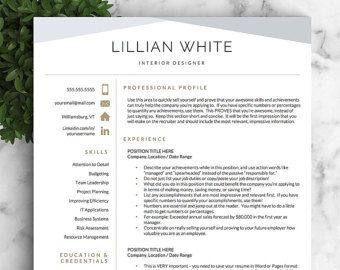 Modern Resume Template for Word and Pages / Creative, Modern Resume ...