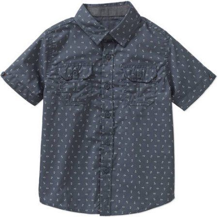 Beverly Hills Polo Club Boys' All-Over Printed Poplin Woven Short-Sleeve Shirt with Chambray Details, Blue