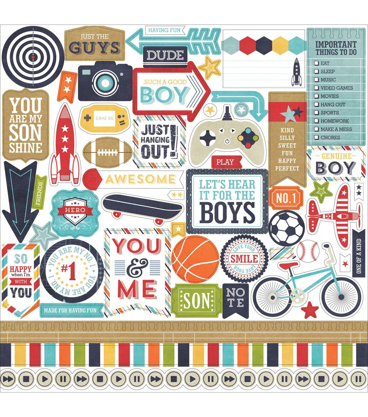 Scrapbook paper dollar general - Echo Park Paper Company That S My Boy Cardstock Stickers Element