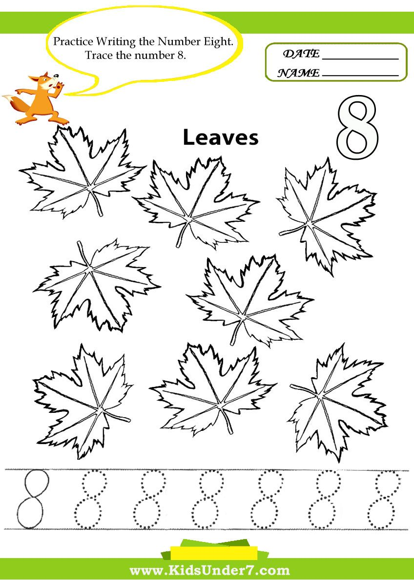Kids Under 7 Number Tracing 110 Worksheet Part 1 – Number 8 Worksheets