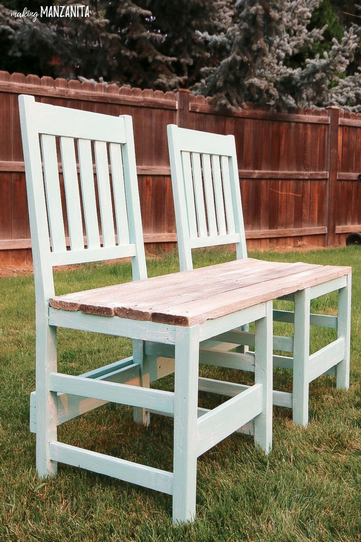 Colorful Upcycled Chair Bench For Your Backyard Making Manzanita Painted Wood Chairs Upcycle Chair Diy Bench Outdoor