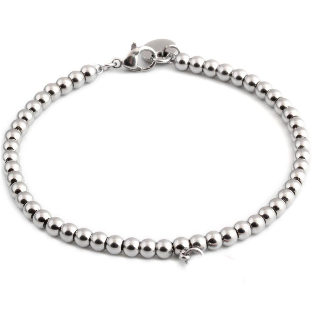 Hot trendy silver color stainless steel beads bracelets female women