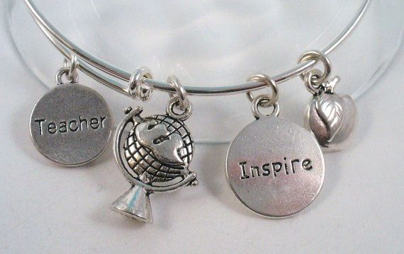 Sold And Re Listed Silver Bangle Bracelet Teacher Gift Theme Alex Ani Style 15 00