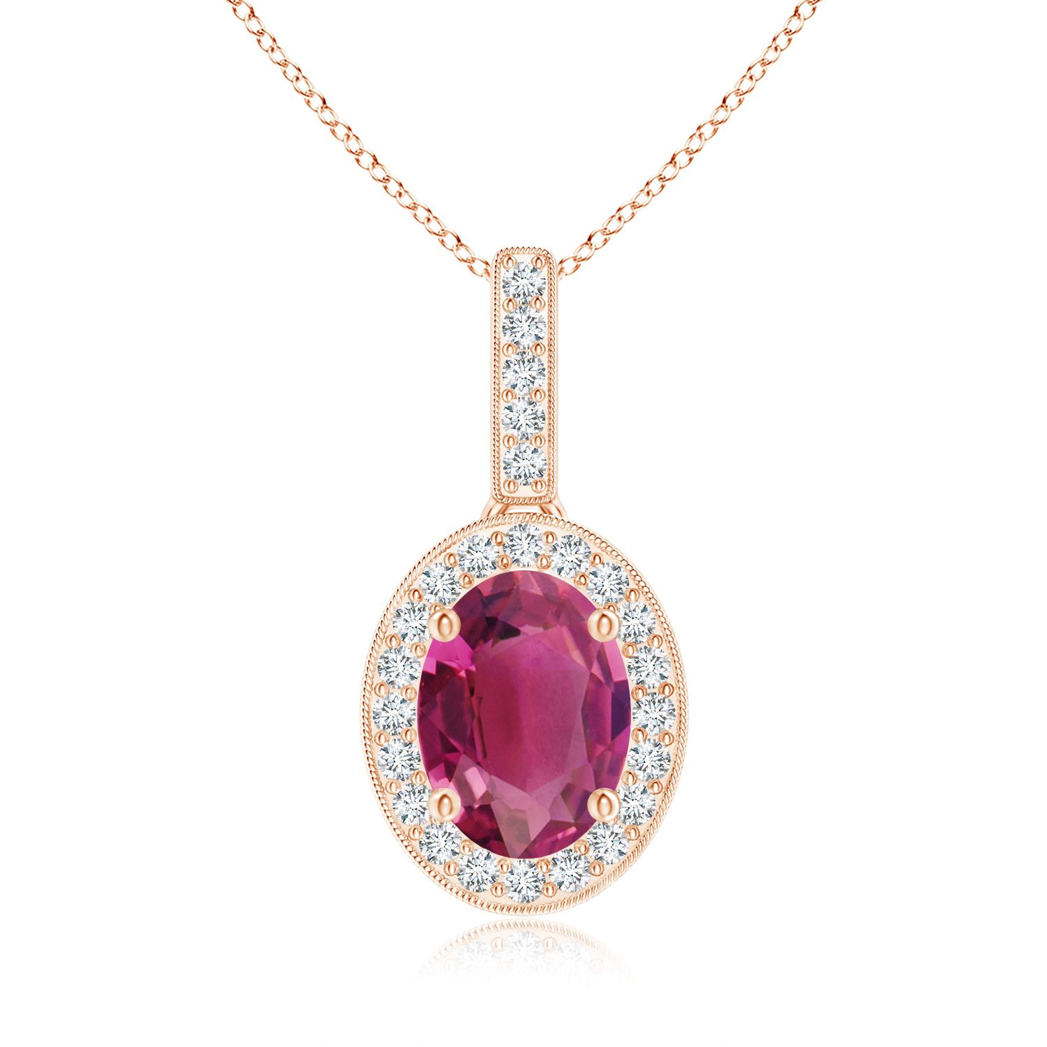 Angara Diamond Halo Pink Tourmaline Drop Necklace in Rose Gold fO0PRpZy