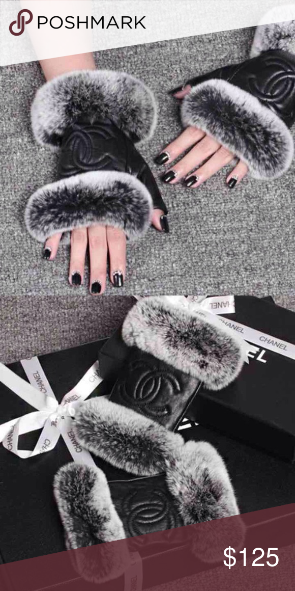 Fingerless gloves🌟 ONLY 1‼️ New- leather and fur and super soft! Not of brand. CHANEL Accessories Gloves & Mittens