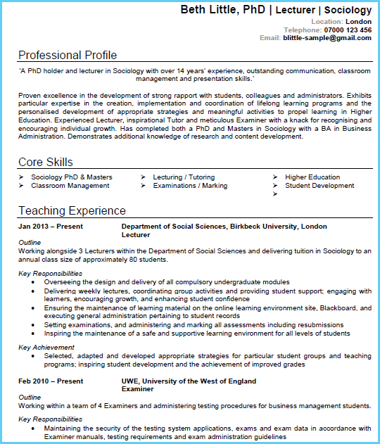 Academic Cv Example Page 1 Write An Amazing In Microsoft Word That Will Wow Recruiter And Empl Guided Writing Teacher Resume Examples Personal Statement