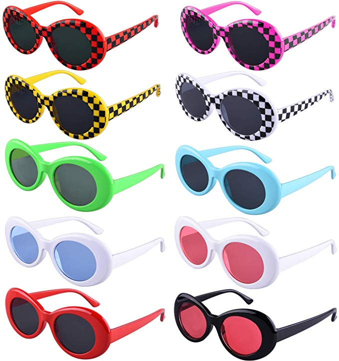 Amazon Com Siquk 10 Pairs Clout Goggles Oval Sunglasses 10 Colors Thick Frame Round Lens Goggles Retro Kurt Mod Oval Sunglasses Colored Sunglasses Sunglasses