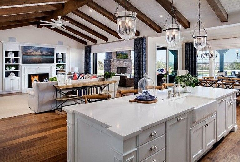 40 Luxury Open Kitchen Designs With Living Room Kitchen Ceiling