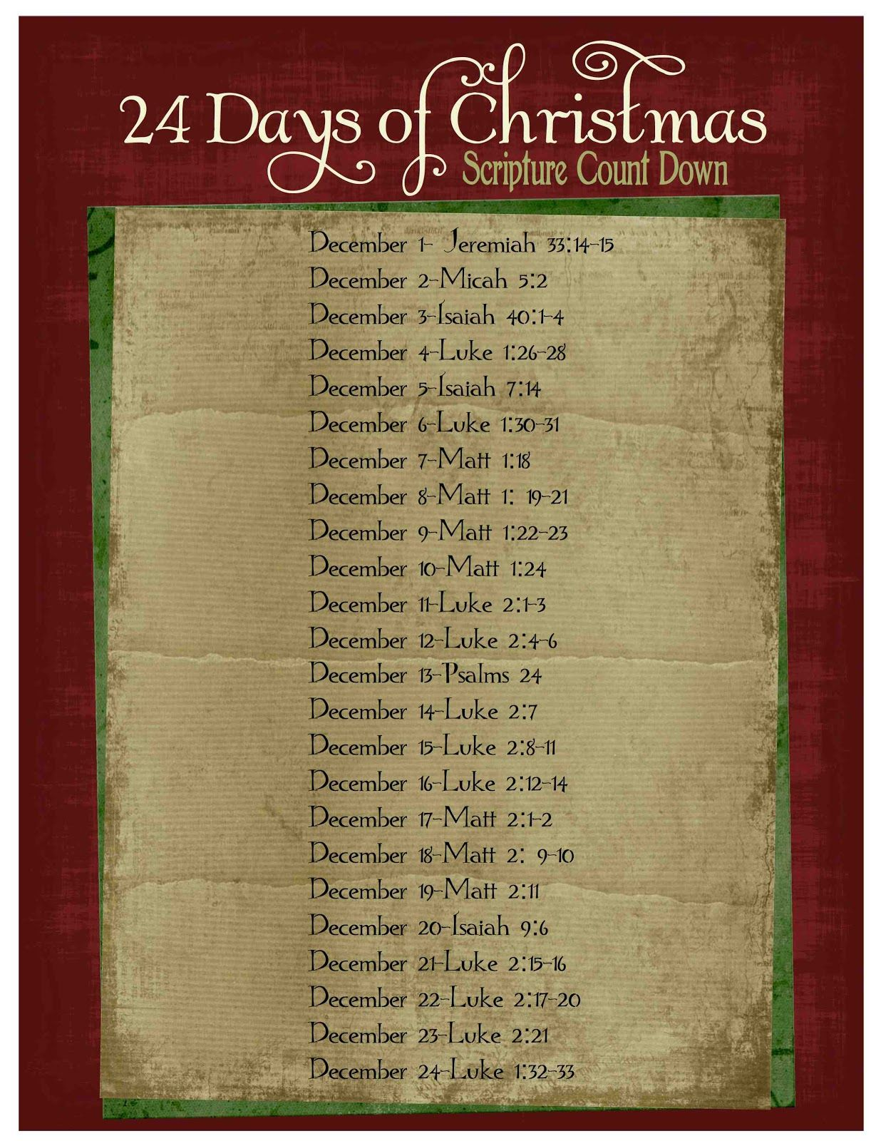 christmas bible verse countdown advent ideas. Black Bedroom Furniture Sets. Home Design Ideas