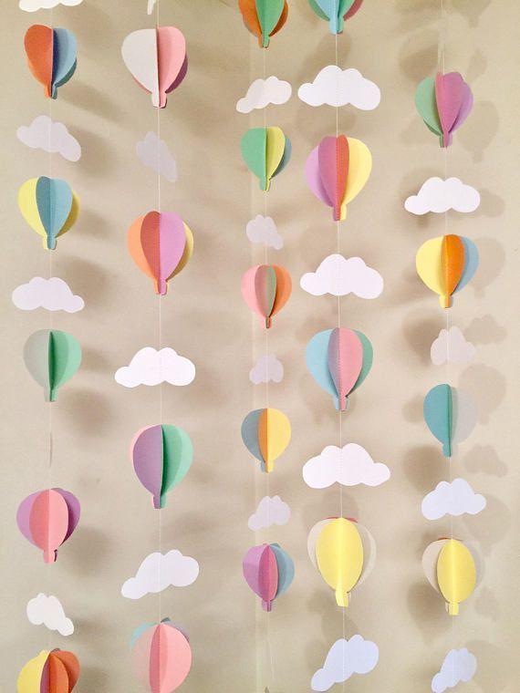 Hot Air Balloon Birthday Decor- Air Balloon Baby Shower Decorations- Pastel Hot Air Balloon Decorations – Hot Air Balloon Birthday decor