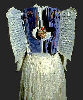 "MIRIAM SCHAER ~""Heart of The Matter"" (1994) 56 x 26 x 20. (detail open) Artist book: Acrylic, wedding dress, xerox, ink, heart model, thread, silk. Unique. Collection of the Robert McLaughlin Gallery, Oshawa, Ontario, Canada. Photos by Douglas Beube. via colophon.com"