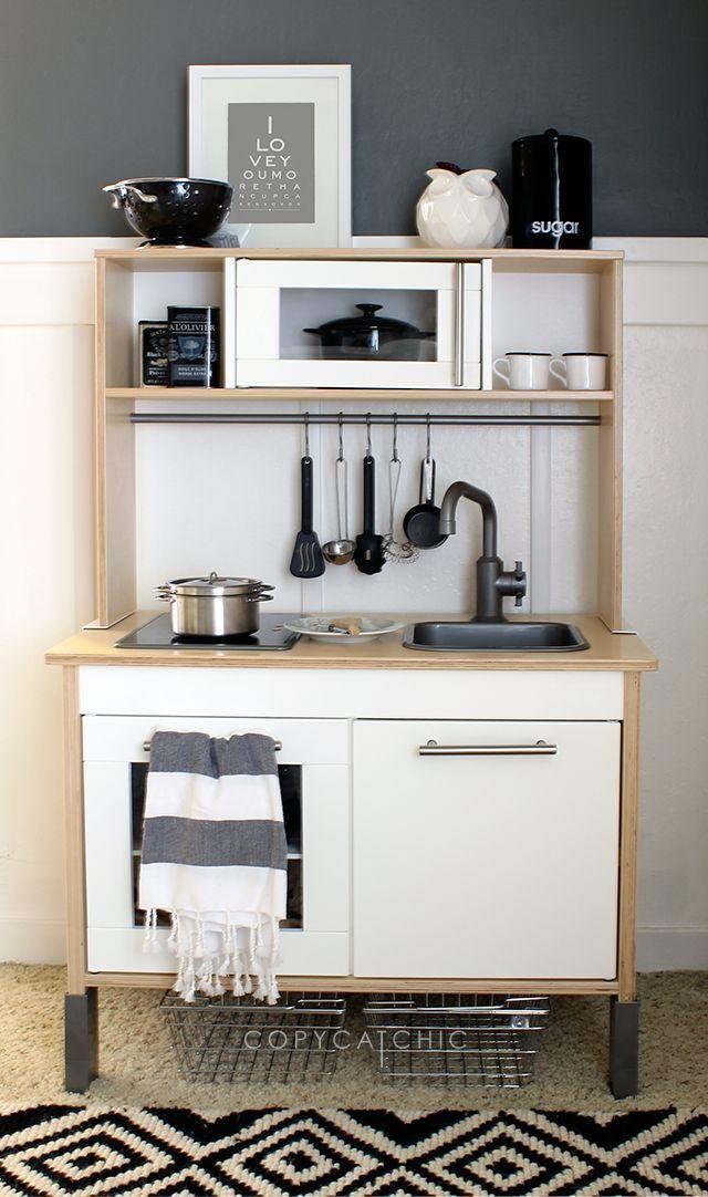 Ikea hack children 39 s duktig play kitchen chambre enfant cuisinette ikea salle de jeux et - Cuisinette ikea ...