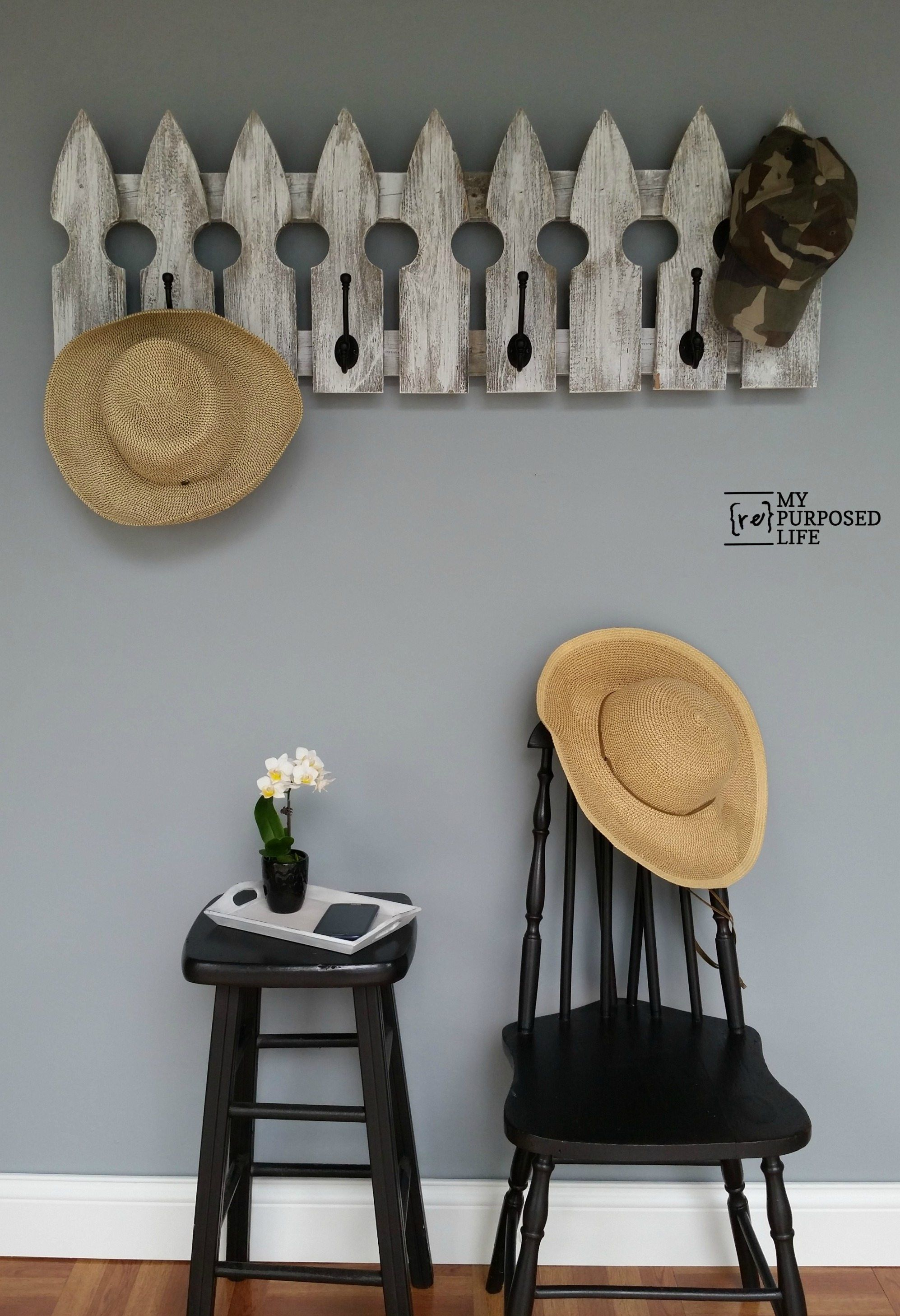 Whitewashed Picket Fence Coat Rack How to make this quick and easy picket fence coat rack project The white wash is the icing on the cake to make this a perfect project f...
