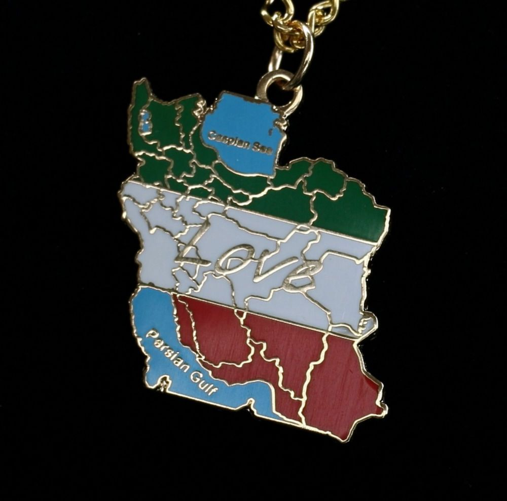 Details About 18C 18K Gold Plated Necklace Map Iran Love