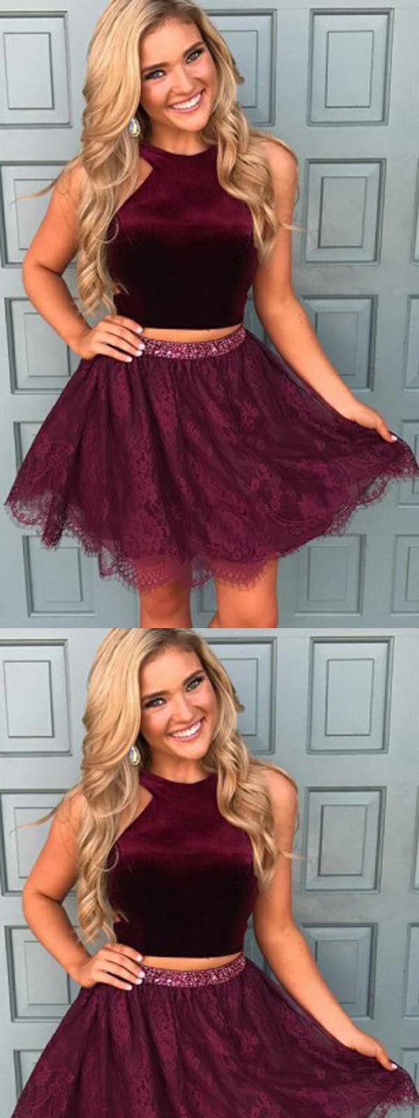Halter two piece dark red lace homecoming dressescheap short prom