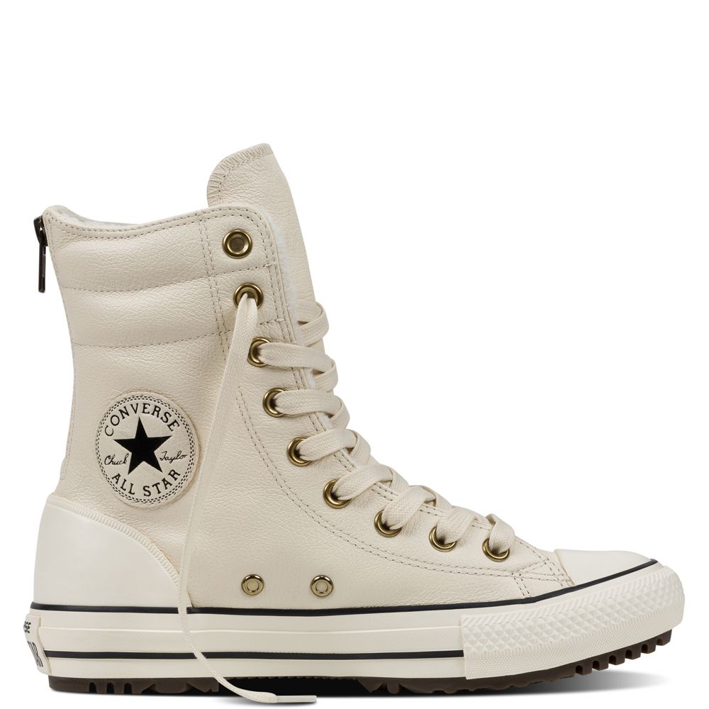 Chuck Taylor All Star High-Rise Leather Boot Parchment/Black/Egret  parchment/