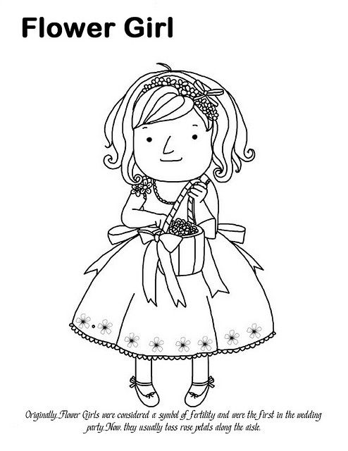 Flower Girl Coloring Page Coloring Pages For Girls Flower Coloring Pages Wedding Coloring Pages
