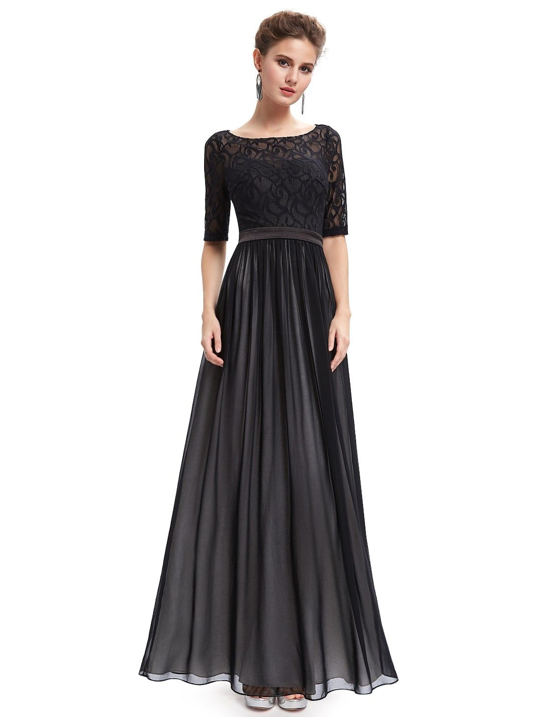 Lace long sleeve illusion neckline evening dress illusion neckline