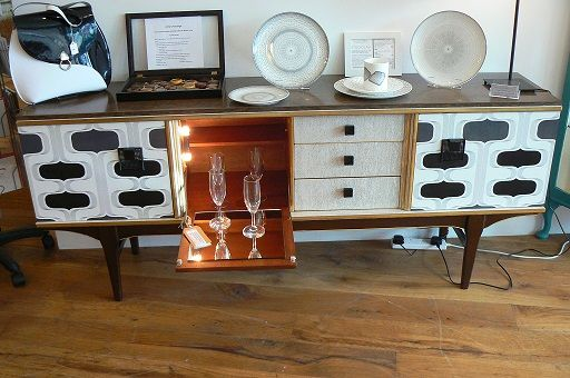 Fab Retro Mid Century Modern Sideboard Cocktail Cabinet Upcycled With Black And White Seventies Style Wallpaper