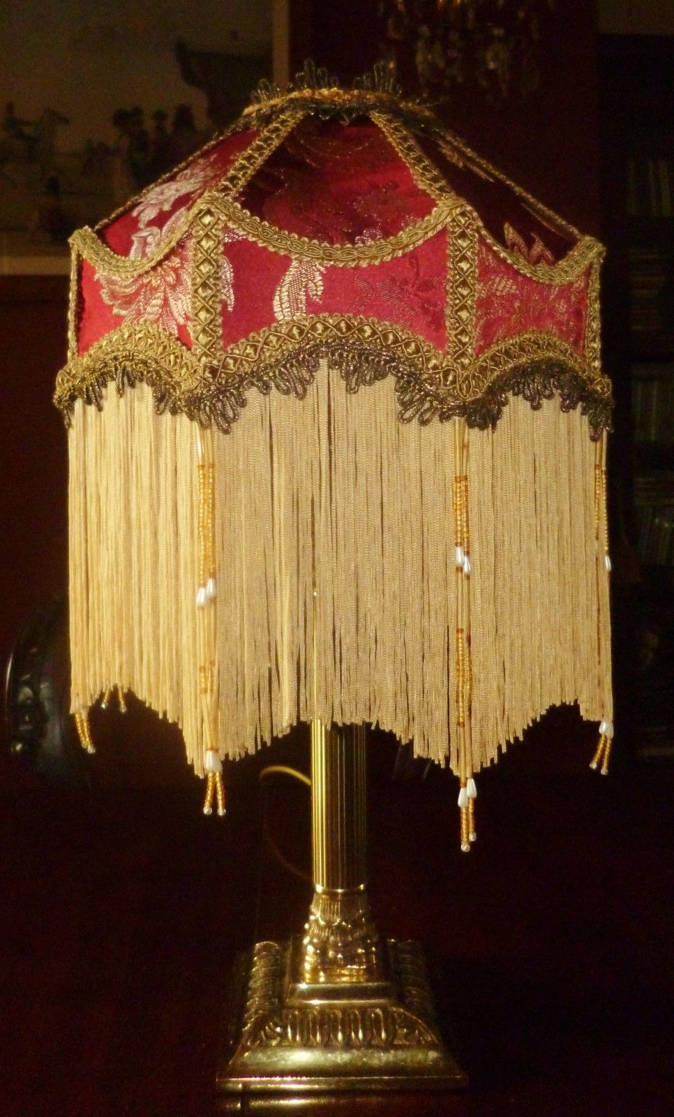 Ss A Victorian Deco Beaded Lampshade Ruby Red Gold