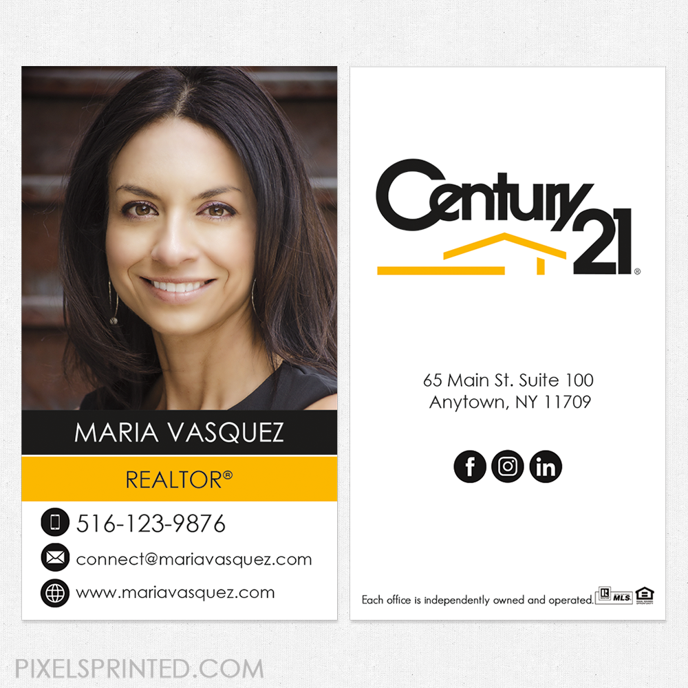Century 21 business cards, Century 21 cards, realtor business ...