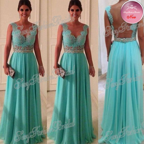 Find More Evening Dresses Information about Custom Size  Custom Sweetheart Beadings Nude Back Blue Lace Chiffon 2014 Sexy Long Evening Dresses,High Quality Evening Dresses from sexyfashionbridal on Aliexpress.com