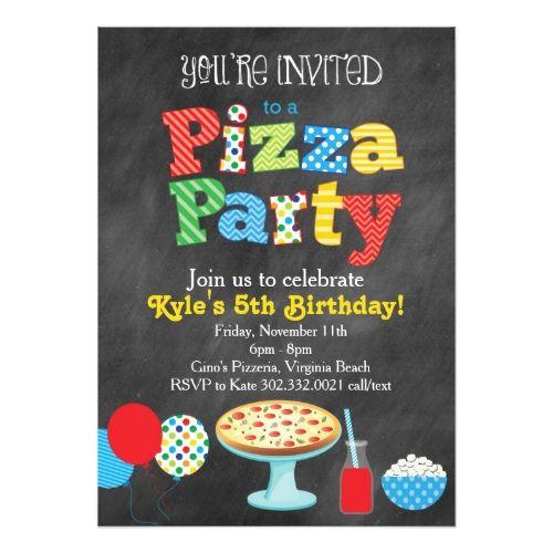 BoyS Chalkboard Birthday Invitations Chalkboard Pizza Party