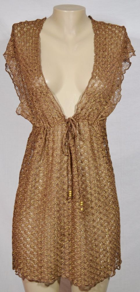 2abe7566cb BECCA BY REBECCA VIRTUE Brown Brown Open Knit Swim Cover Up Medium Large # BECCA #CoverUp