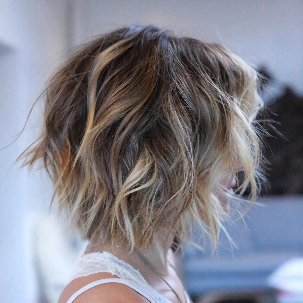 Shaggy Brown Bob With Blonde Balayage Messy Short Hair Hair Styles Short Hair Styles