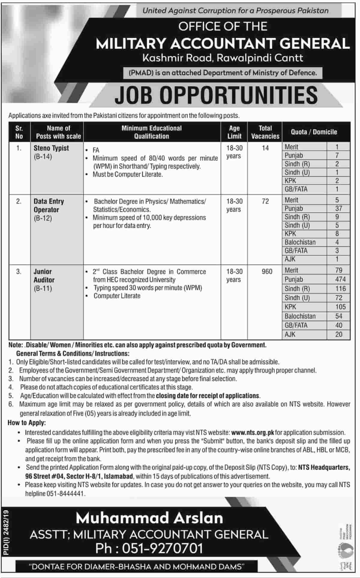 Military Accountant General Jobs 2019 Nts Apply Online Medical
