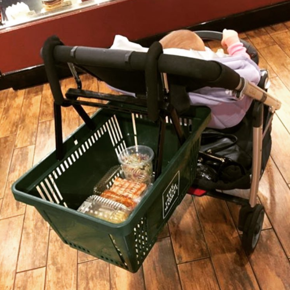 This Mom Who Found A Hands Free Way To Shop With A Basket Full Of