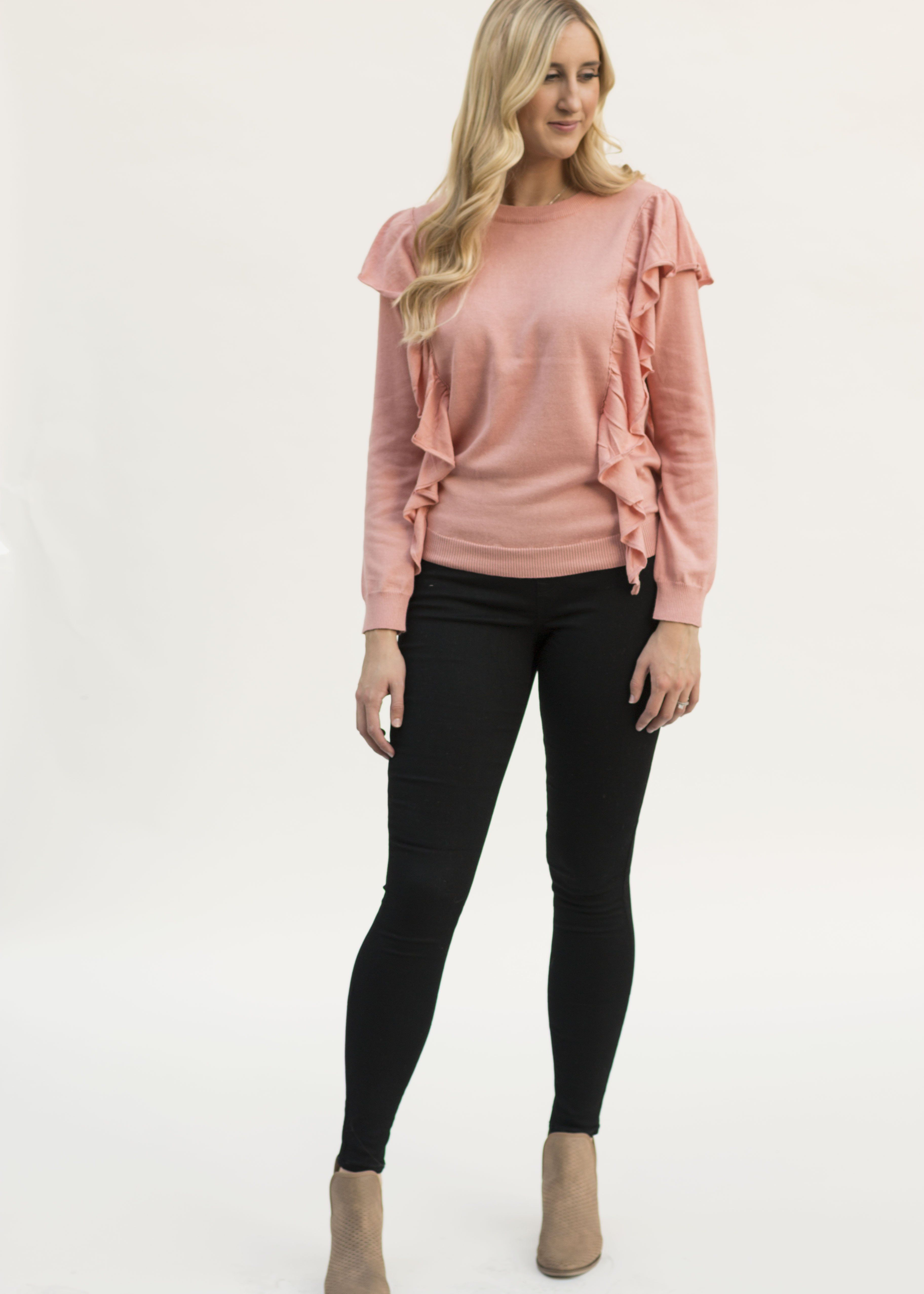 Tea Amp Cookies Ruffle Sweater Products Sweaters Pink