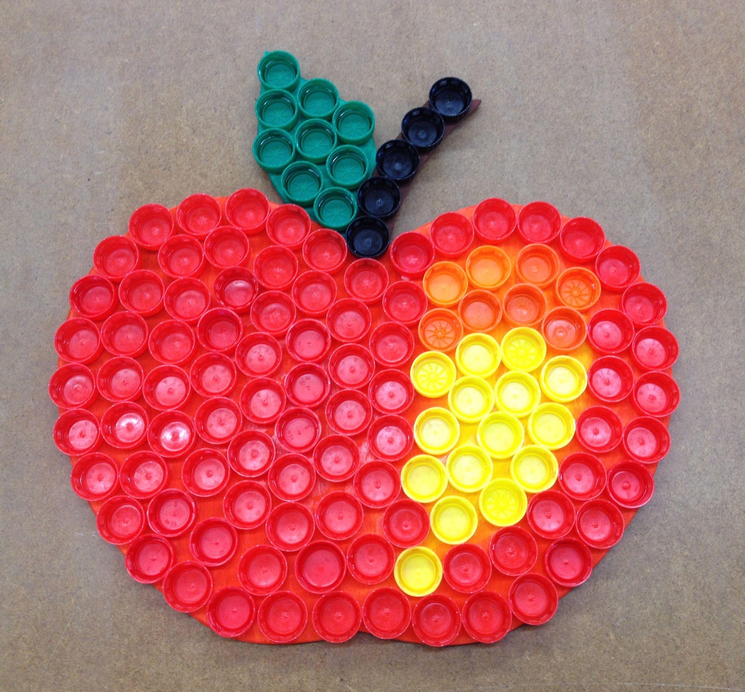 Apfel aus Flaschendeckel #plasticbottleart