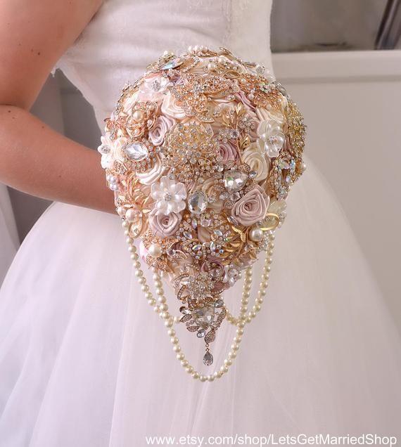 Wedding Bouquet, Bridal Bouquet, Brooch Bouquet, Wedding Accessories, Gift Bridesmaids, Wedding Silk Flowers, Rose Gold Jewelry Bouquet #fantasticweddingbouquets