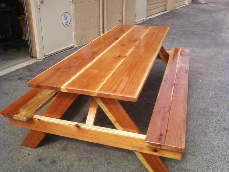 10 Ft Benches Attached Oversized Redwood Table With Thompson S Water Seal 850 Call Steve 760 333 24 Custom Outdoor Furniture Furniture Furniture Design