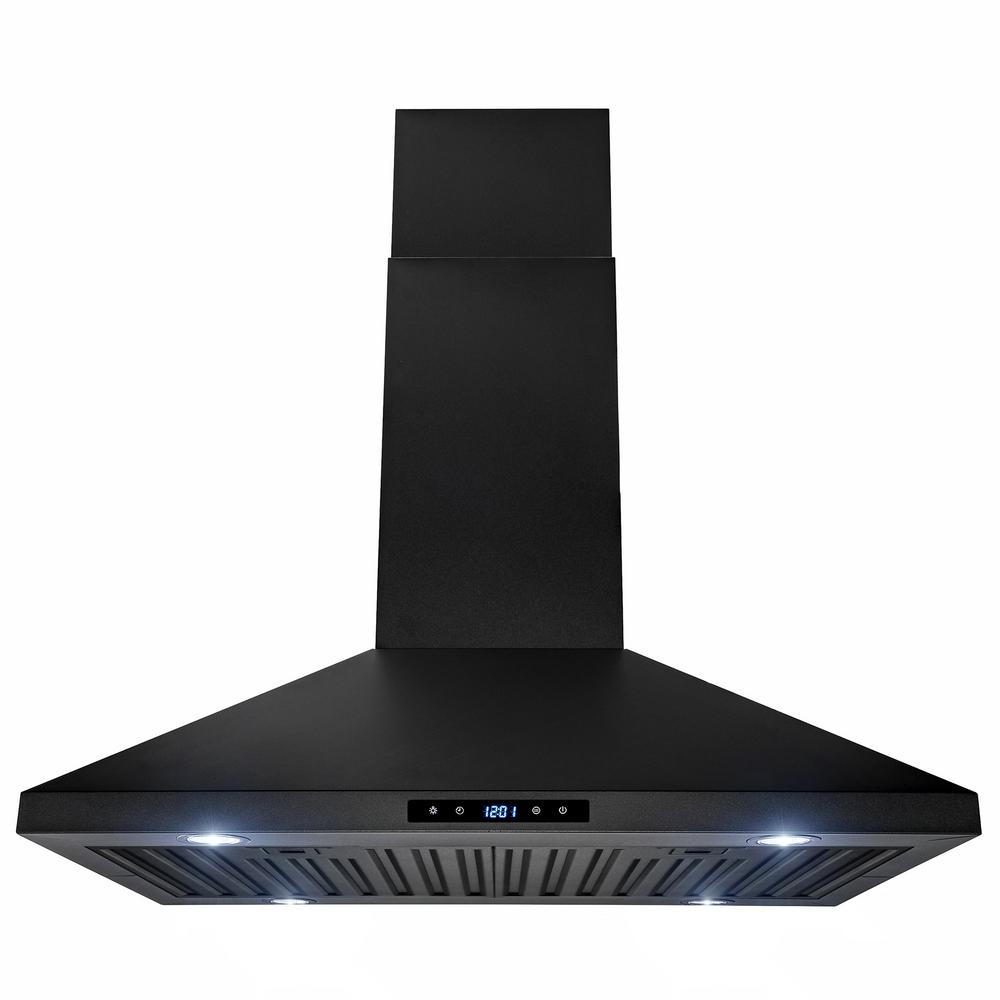 Akdy 30 In 470 Cfm Kitchen Island Mount Range Hood In Black Painted Stainless Steel With Touch Control Rh0080 Range Hood Island Range Hood Kitchen Range Hood
